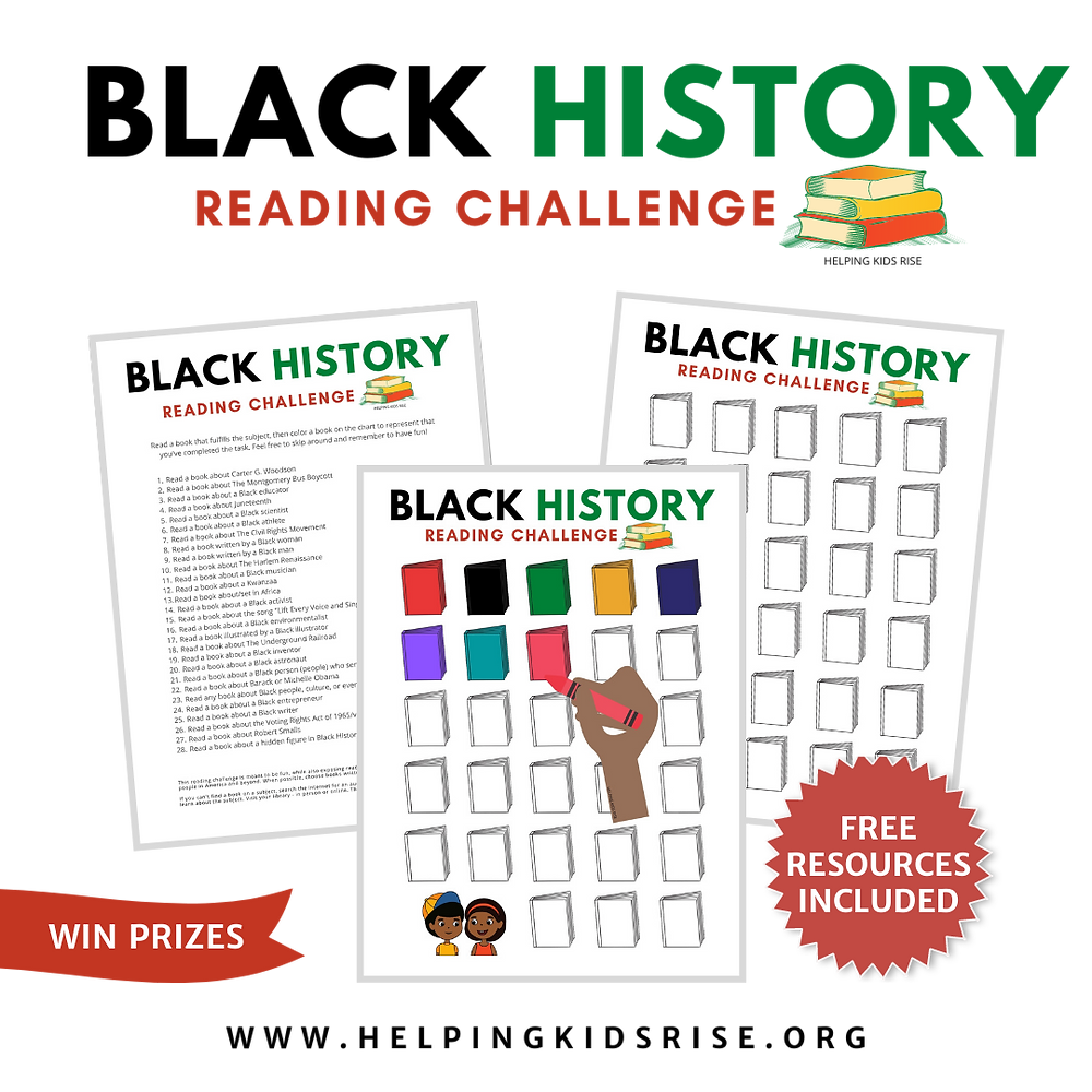 Black History Reading Challenge graphic for coloring #diversebooksforkids #diversechildrensbooks
