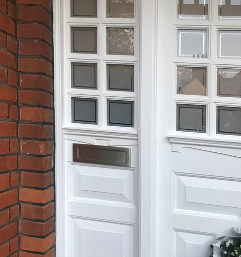 London door with sandblasted glass