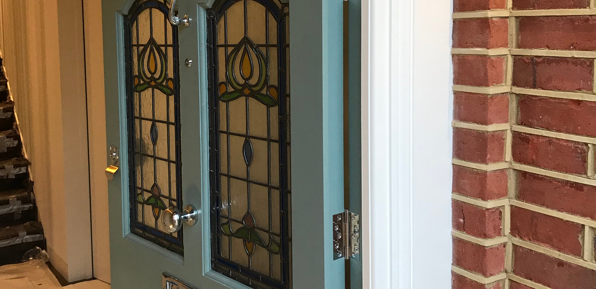 London door with stained glass