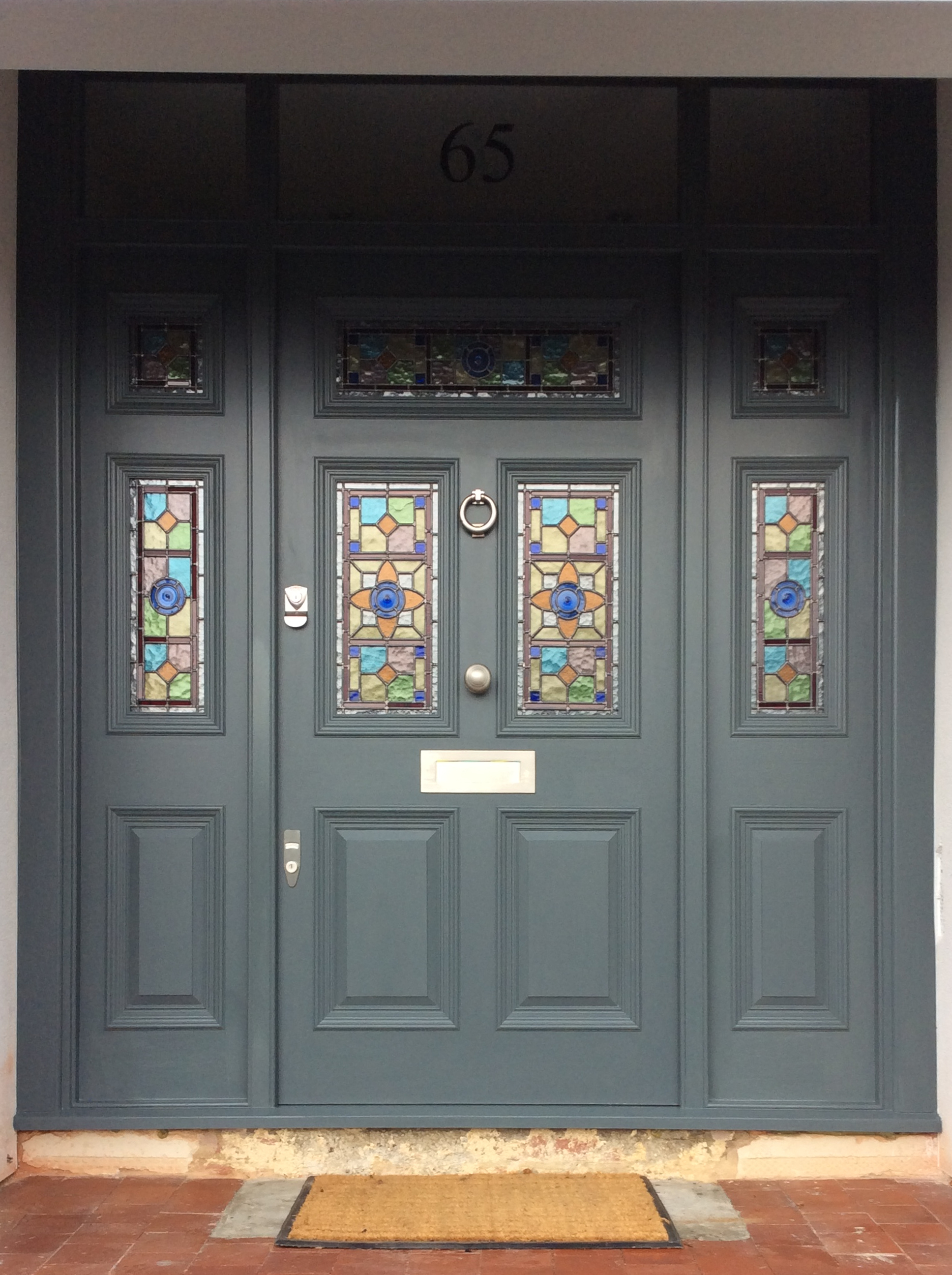 Front door with stained glass London