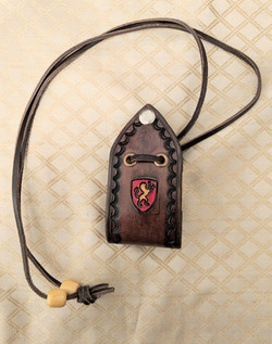 Hand stamped leather purse