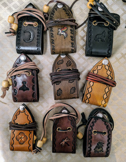 Hand stamped Leather purses