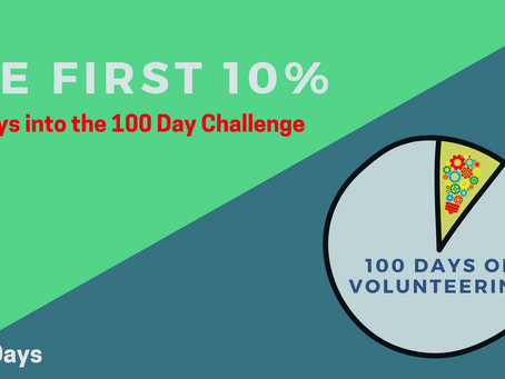 The first 10% - 10 days into my #100DaysOfVolunteering Challenge