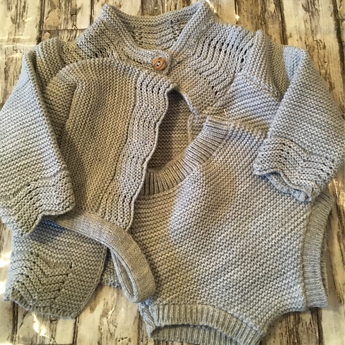 Grey Fine-knit Three Piece