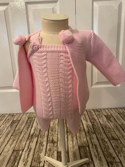 Pink knitted Dungaree set