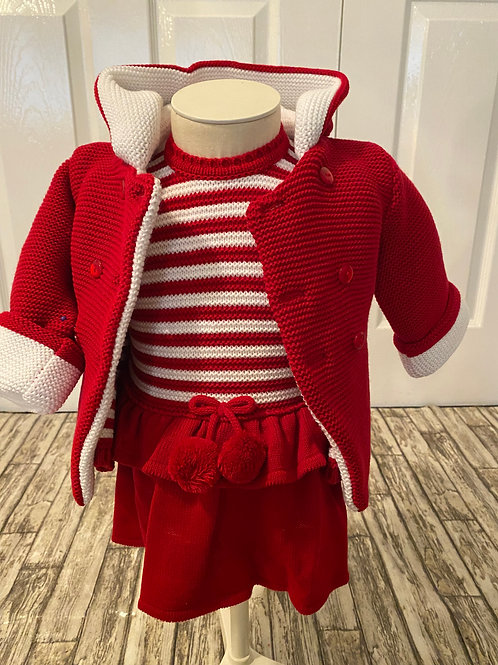 Red knitted dress and cardigan