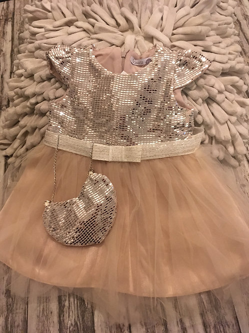 Silver and beige sequin dress and purse