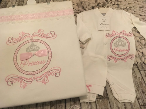 White Princess Babygrow, Blanket and hat set
