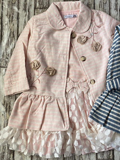Pink striped jacket and dress