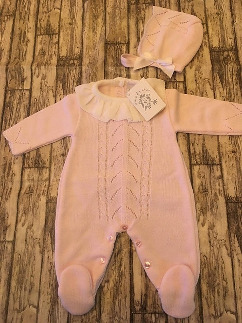 Pink knitted baby grow