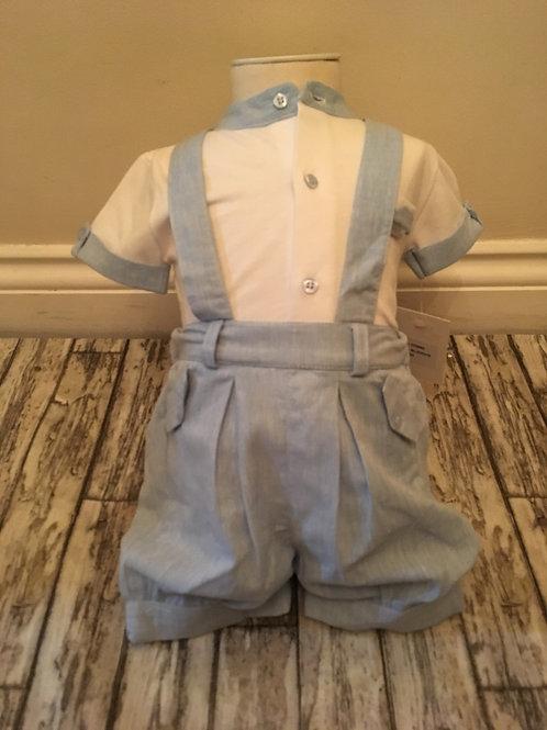 Blue braced shorts and shirt