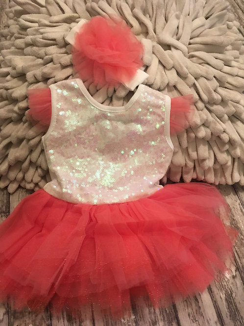 Sequin babygrow with coral tutu and matching headband