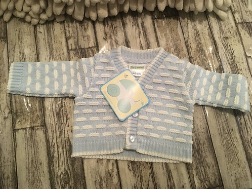 Knitted blue and white cardigan