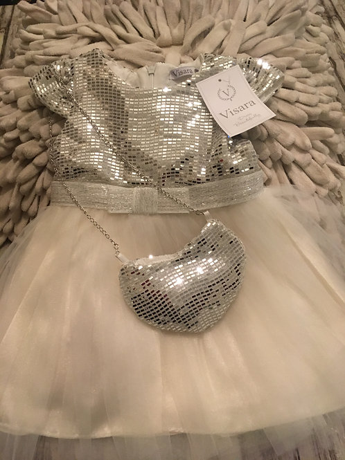 Silver and white sequin dress and purse