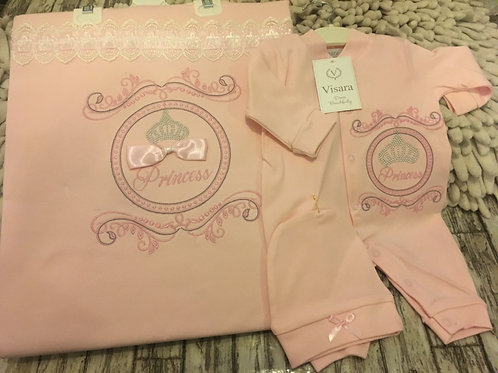 Pink Princess Babygrow, Blanket and hat set