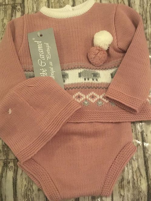 Knitted 3 Piece rose set
