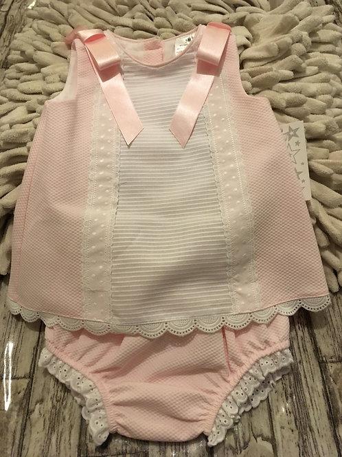 Pink dress white panel