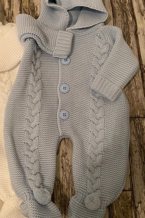 Blue chunky knit romper