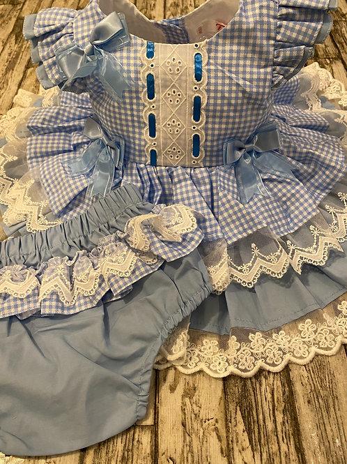 Blue gingham frilly dress
