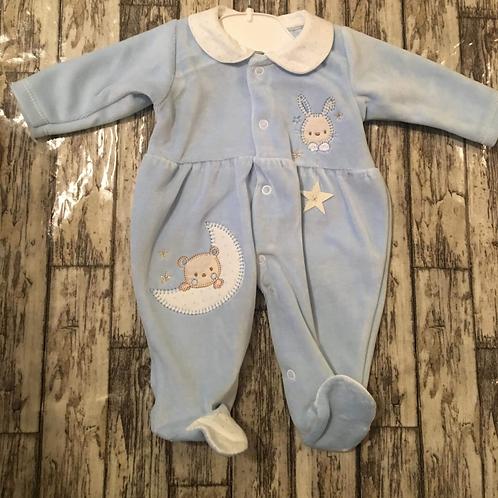 Blue Teddybear Velour Babygrow