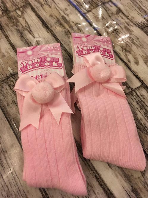 Pom pom socks with bow