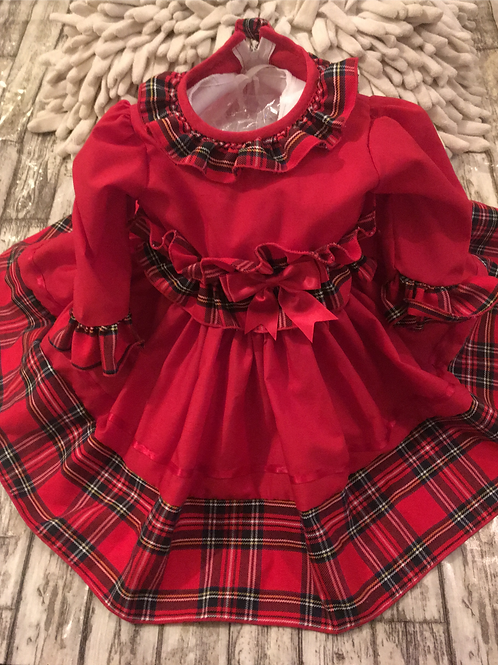 Red tartan trimmed dress