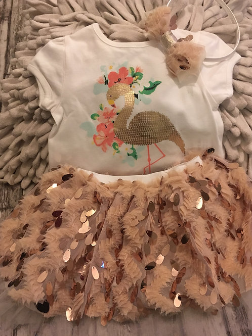 Beige flamingo set