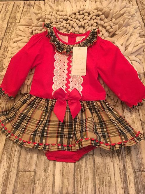 Tartan and lace dress