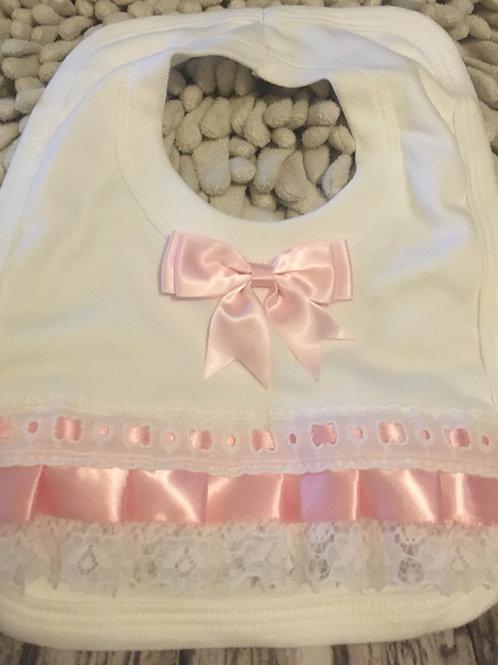 Pink frilly bib