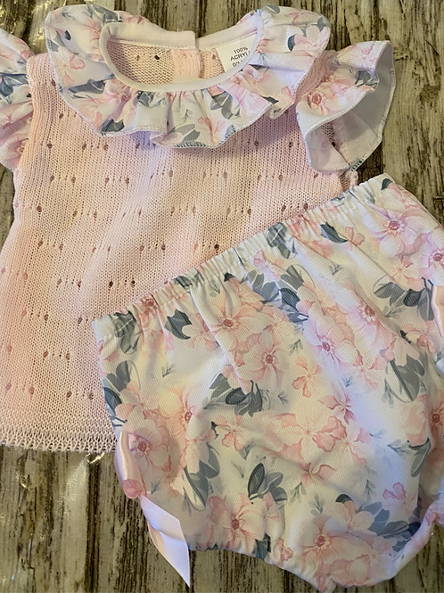 Pink Knitted floral set