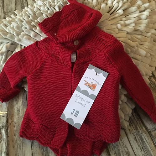 Red fine-knit three piece set