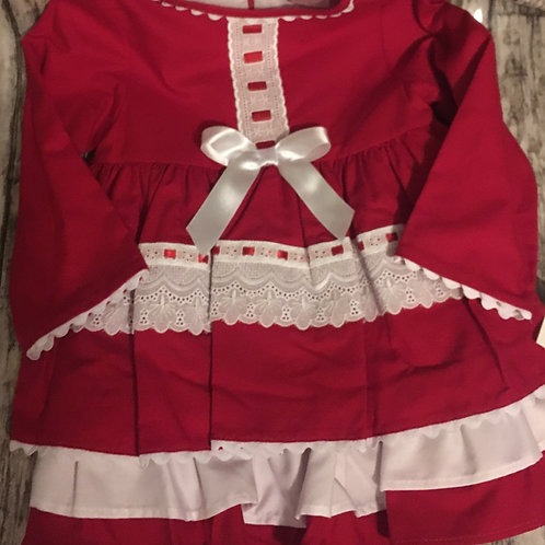 Red frilly dress