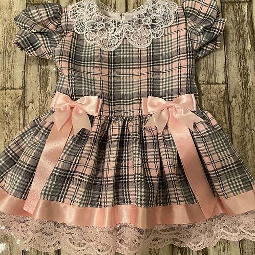 Grey and Pink tartan Dress