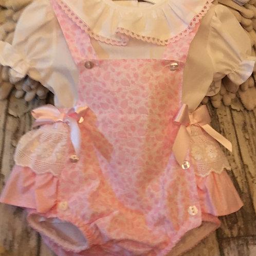 Pink paisley print dungeree set