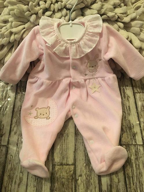 Pink Velour Teddybear Babygrow