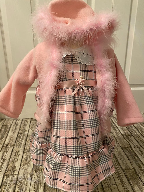 Pink check dress and cardigan