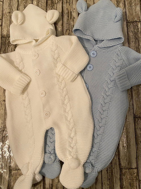 White Chunky knit romper