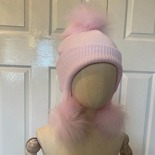 Triple pom hat (pink)