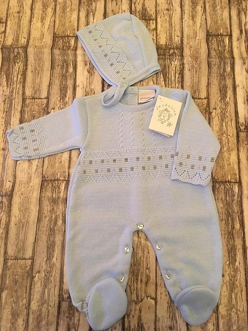 Light blue knitted babygrow