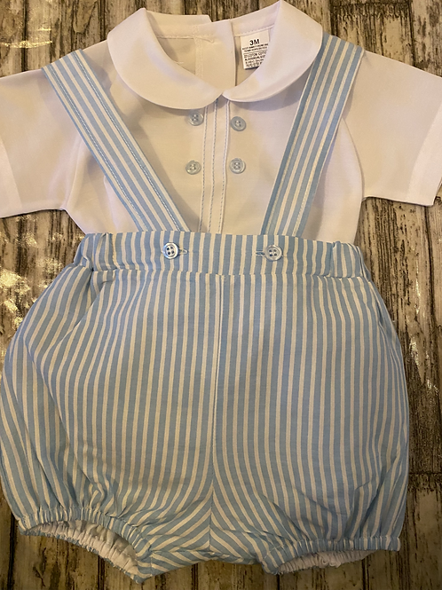 Blue striped short set