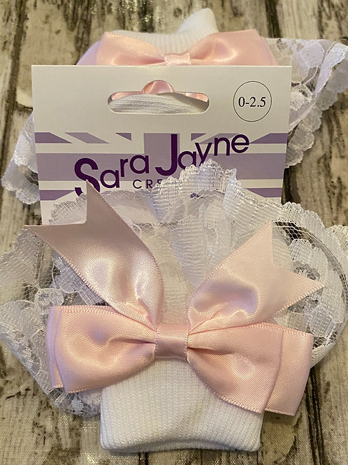 White and pink frilly socks