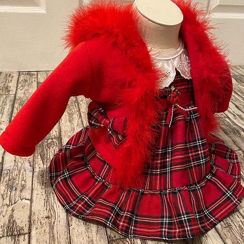 Tartan dress and cardigan