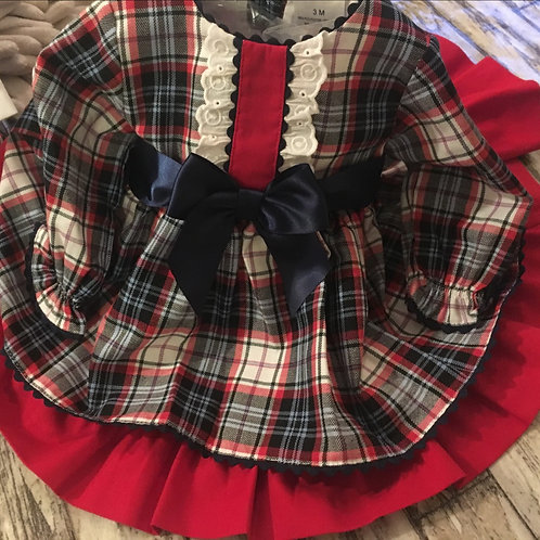 Navy and red tartan dress