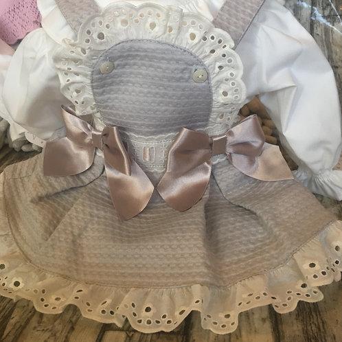 Grey bib and brace dress