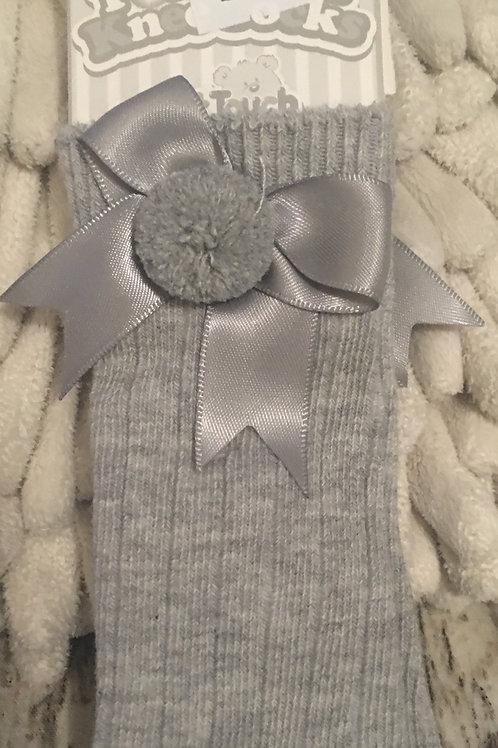 Grey pom socks