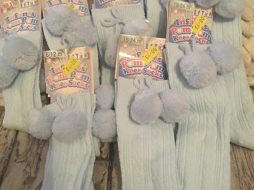 Long light blue pom socks