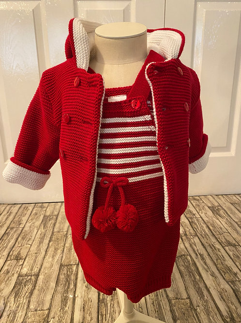 Red dungarees and coat