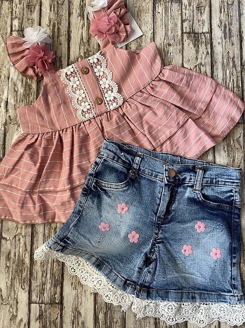 Rose top and Denim shorts
