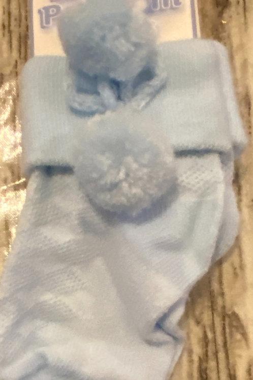 Blue short pom socks