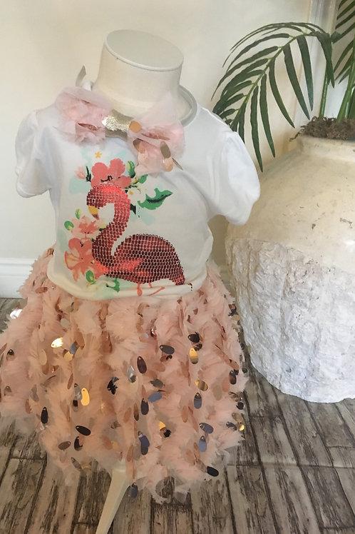 Peach Flamingo skirt set